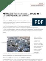 ASHRAE se pronuncia sobre la COVID-19 y los sistemas HVAC en edificios _ ACR Latinoamérica