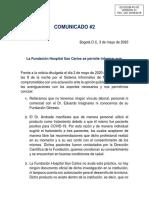 Comunicado Fundacion Hospital San Carlos