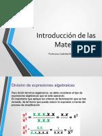 F Introducción de las Metemáticas 1 - División de expresiones algebraicas