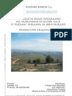 """Catálogo de Bienes Integrantes del Patrimonio en Sector SUE-D S1 """"Suzana"""". Miranda de Ebro (Burgos). Prospección Arqueológica."""