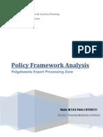 Policy Analysis of Polgahawela Export Processing Zone
