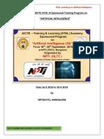 AICTE-AI HLTC workshop Report( 16.9.2019 to 20.9.2019)