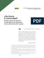 Territorio o comunidad. Notas para fortalecer la perspectiva espacial en la intervención social. (Arancibia, I.; Orquera, R. y Virasoro, S.)