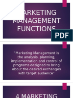 MARKETING MANAGEMENT FUNCTIONS