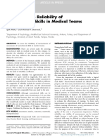Estimating the Reliability of Nontechnical Skills in Medical Teams