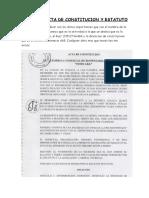 Acta de Constitucion de Una Empresa Estatuto