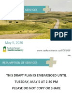 Document de l'Autorité de la santé de la Saskatchewan (SHA) sur la reprise progressive des services de soins de santé