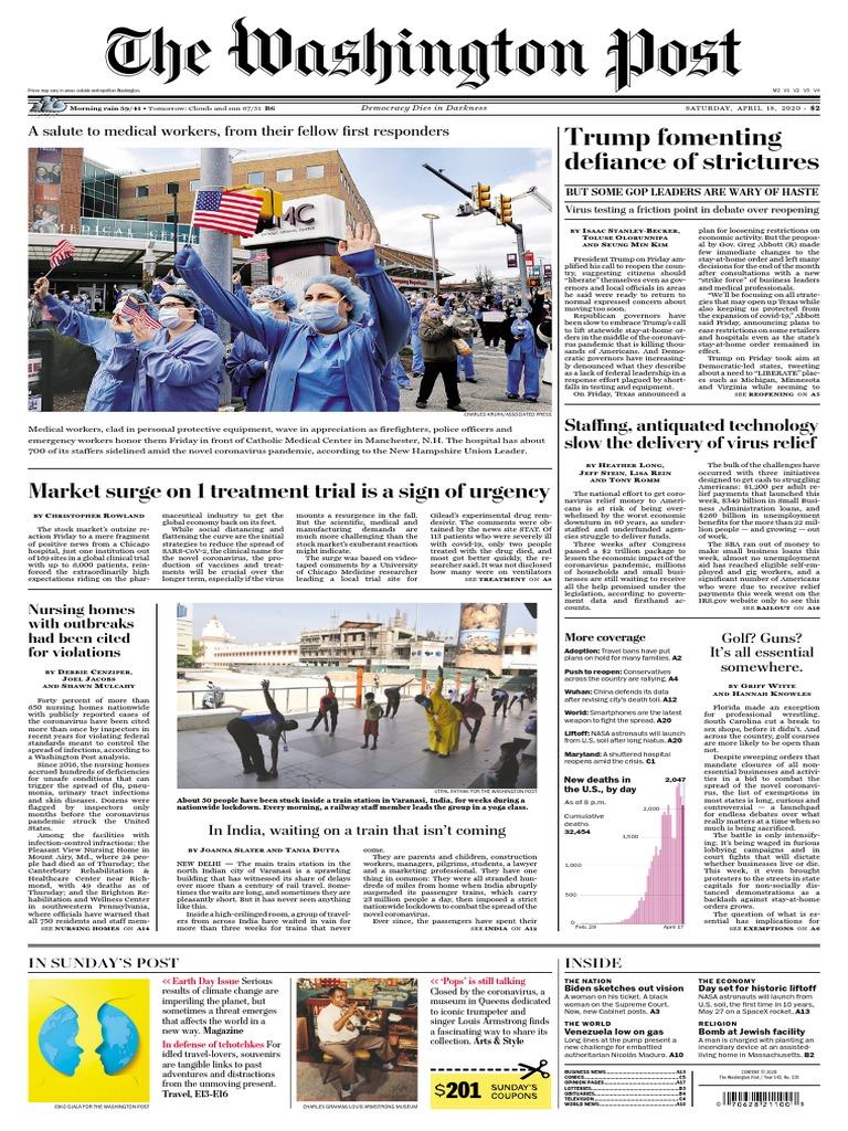 The Washington Post April 18 2020 Pdf Donald Trump United States Government