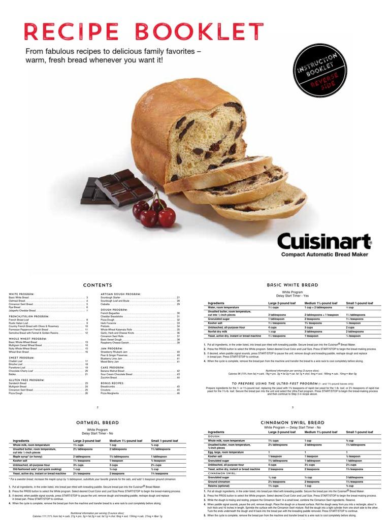 Manual De La Panificadora Cuisinart Cbk 110 Libro De Recetas Ingles Pdf Breads Dough
