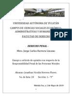 Ensayo - Responsabilidad Penal de las Personas Morales