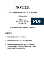 Newport City Council Agenda, Dec. 30, 2010