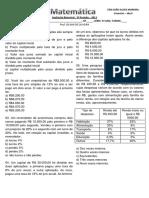 AVALIAÇÃO BIMESTRAL 3º PE 2013  - MATEMÁTICA - 3º ANO