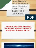 Traumatismele fizice. Etiologie. Tablou clinic, diagnostic și tratament.