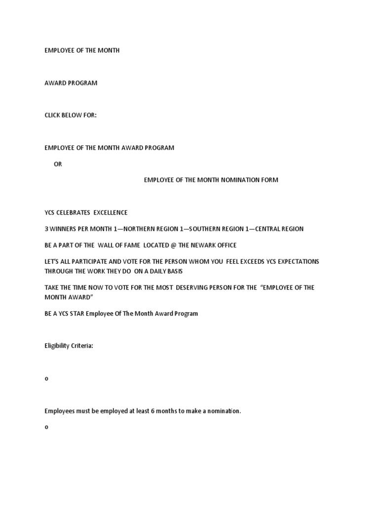 employee award nomination form