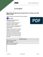 Momentos de aperto para motores de 9 e 13 litros com XPI, PDE ou Gás