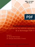 Issue Special Sur Les Sciences Appliquées Et La Technologie Tom 1