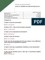 1-EXERCÍCIO DE AVALIAÇÃO DE TERRENO PELO MÉTODO INVOLUTIVO