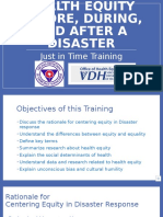 Just in Time Training-Health Equity in Disaster Response and Recovery