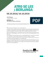 Dossier Teatro se lee en la Berlanga