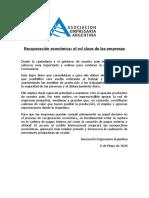 Comunicado de la Asociación Empresaria Argentina