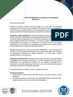 Evaluación ponencias Encuentro Interno Formación Investigativa 2020A