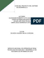 EVIDENCIA 2 ESTRUCTURACION DE PROYECTO DEL SISTEMA EN DESAROLLO