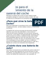 Consejos para el mantenimiento de la batería del coche