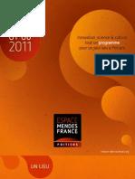 Programme de l'Espace Mendès France, Poitiers, de janvier à juin 2011