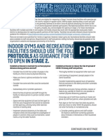 Stage 2 Requirements for Gyms, Recreational Facilities