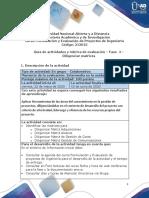 Guía de actividades y rúbrica de evaluación – Fase  4 – Diligenciar matrices