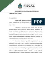 Presentación del Fiscal Di Lello por uso de mosquito en Pergamino