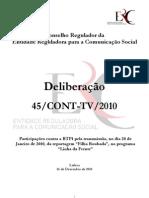 Deliberação 45/CONT-TV/2010