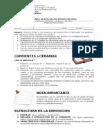 Rúbrica Evaluación Exposición Oral Corrientes Literarias 4° Medio