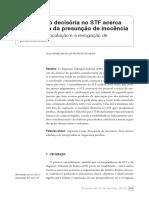 A oscilação decisória no STF acerca da garantia de presunção de inocêcencia entre a autovinculação e a revogação de precedentes