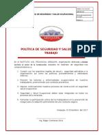 POLÍTICA DE SEGURIDAD Y SALUD EN EL TRABAJO 1.12.17