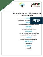 Plan de Trabajo  de la Propuesta del Protocolo de Investigacion