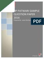 HP PATWARI SAMPLE QUESTION PAPER 2016