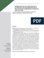 Incorporación de los odontólogos en los procesos de transformación al modelo de salud familiar de la atencion primaria en Chile