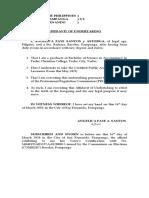Affidavit of Undertaking (Sample)