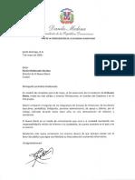 Carta de felicitación del presidente Danilo Medina con motivo del 39 aniversario del periódico El Nuevo Diario