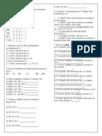avaliação 6ano regras de divisibilidade
