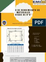 Cálculo de rendimiento de materiales VIGAS(C)