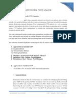Cost Volume & Profit Analysis
