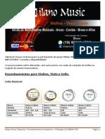 Catalogo de Preço - Milano Music
