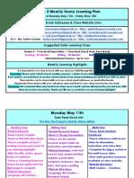may 11 - may 15 - grade 3 weekly home learning plan