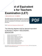 PRC List of Equivalent Degrees for Teachers Examination