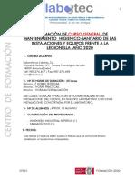 INFORMACIÓN GENERAL CURSOS LEGIONELLA 2020