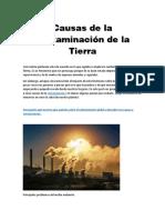 2 Causas de la contaminación de la Tierra