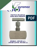 Especificación de valvula de aguja(vayremex)