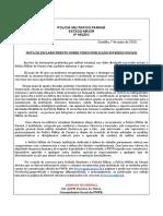 NOTA PARA INTRANET Nº 001.2020 - Esclarecimento Sobre Video Publicado Em Redes Sociais 07 Maio 202